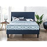 Zinus Upholstered Navy Button Detailed Platform Bed/Wood Slat Support, Queen