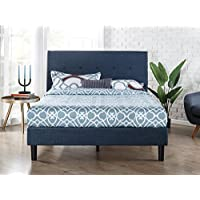 Zinus Upholstered Navy Button Detailed Platform Bed / Wood Slat Support, King