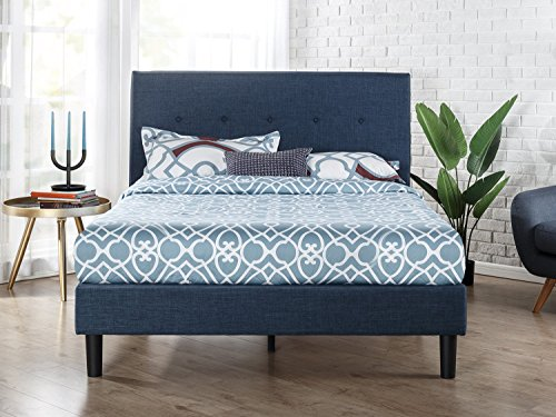 (Zinus Omkaram Upholstered Navy Button Detailed Platform Bed / Mattress Foundation / Easy Assembly / Strong Wood Slat Support, Queen)