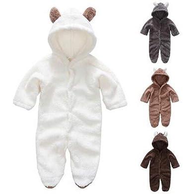 Newborn Baby Girls Boys Infant Hooded Romper Fleece Teddy Bear Jumpsuit Bodysuit