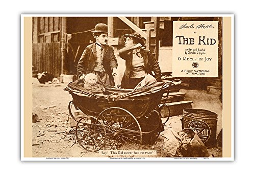 Charlie Chaplin in The Kid - Vintage Motion Picture Lobby Card c.1921 - Master Art Print - 13in x 19in