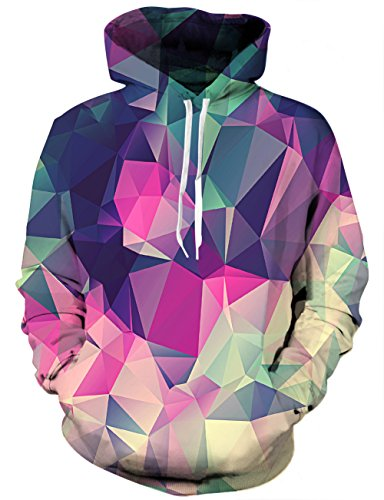 YAJOOEY Realistic 3D Print Galaxy Pullover Hooded Sweatshirt Hoodies with Big Pockets X-Large