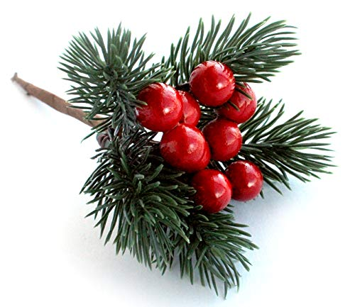 Red Berry Décor Evergreen Wreath Picks & Pine Branches Artificial for Christmas Crafts & Winter Berries Spray - Holly Wire Stem Pick Holiday Decorations DIY Ornaments, Party Floral Arrangement