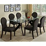 Grand View Espresso Finish Glass Top Dining Room 7-Piece Table Set