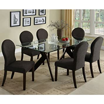 Amazon.com - Grand View Espresso Finish Glass Top Dining Room 7 ...