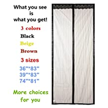 "Magnetic Screen Door,Full Frame Velcro Magic Mesh Curtains for Garafe Doors,Instant Mosquito Net,Keep Fly Bugs Out,Hands Free,Fits Door up to 37""x82"" Max,Size 39""x83"",Black"