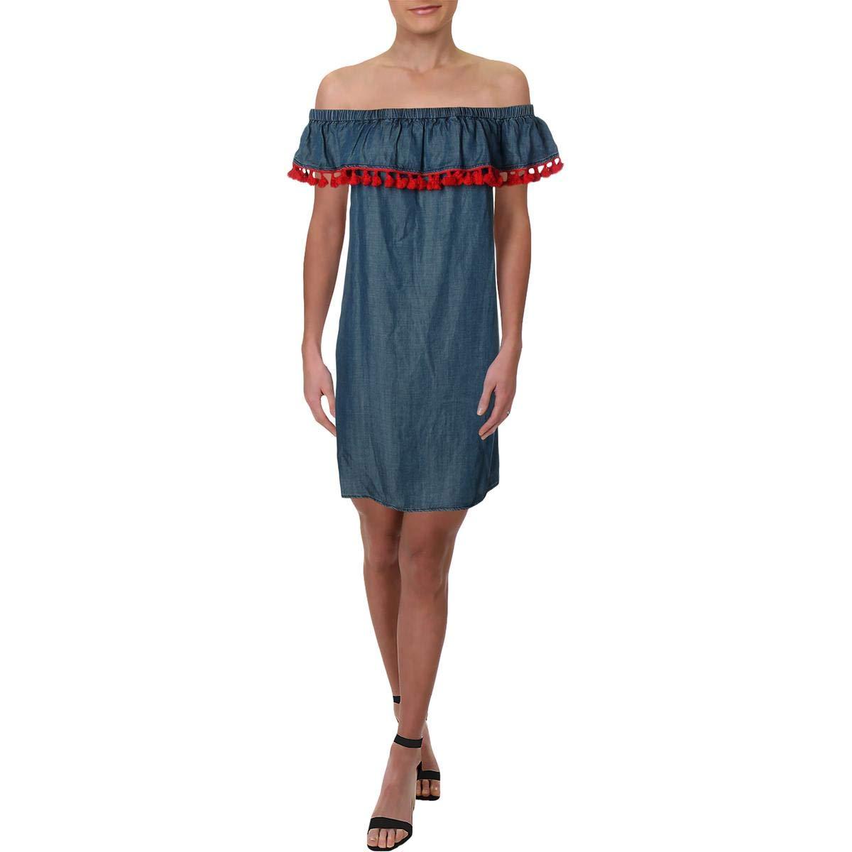 Indigo Red Medium Aqua Womens Tencel Off-The-Shoulder Mini Dress
