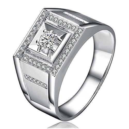 Men's Popular Genuine Natural Diamond Dating 14K White Gold Wedding Engagement Fashion Ring Set ()