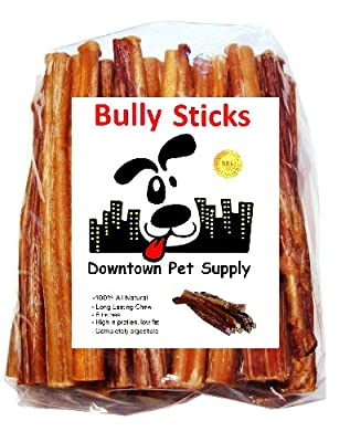 "Downtown Pet Supply 6"" BULLY STICKS - Free Range Standard Regular Thick Select 6 inch Dog Dental Chew Treats, USDA/FDA Approved by Downtown Pet Supply"