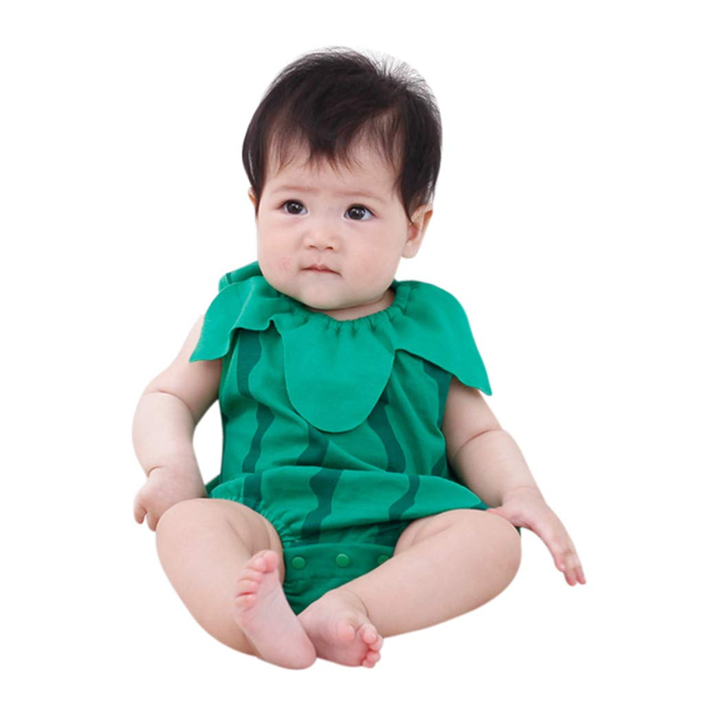 NUWFOR Boys Girls Cartoon Newborn Baby Lovely Bodysuit Fruit Strawberry Pineapp(Green,12-18 Months)