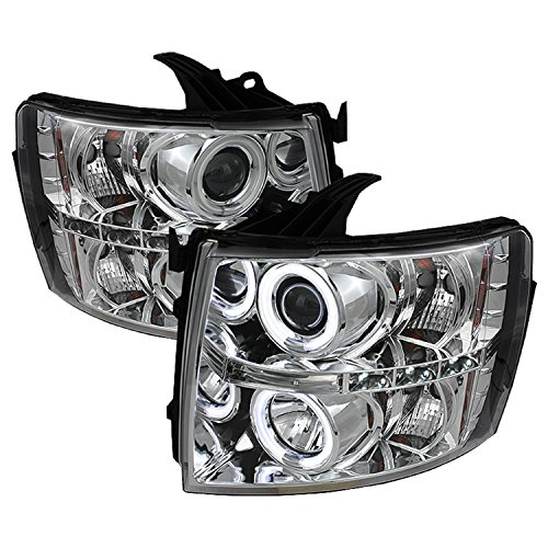 Spyder Auto PRO-YD-CS07-CCFL-C Chevy Silverado 1500/2500/3500 Chrome CCFL LED Projector Headlight with Replaceable LEDs