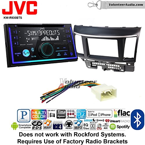 Mitsubishi Lcd Displays - Volunteer Audio JVC KW-R930BTS Double Din Radio Install Kit with Bluetooth USB AUX Fits 2008-2015 Mitsubishi Lancer