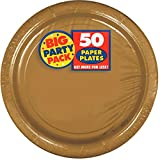 Amscan Big Party Pack Dinner Paper Plates Supplies (300 Piece), Gold