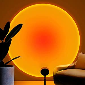 Balkwan Sunset Lamp Projection Rotation Rainbow Projection Lamp Led Romantic Visual Led Light Network Red Light with USB Modern Floor Stand Night Light Living Room Bedroom Decor (Sunset Red)