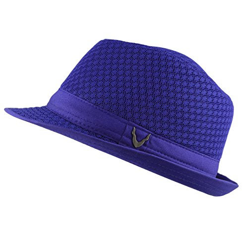 Black Horn Light Weight Classic Soft Cool Mesh Fedora hat (L/XL, Royal)