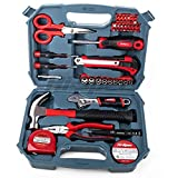 Hi-Spec HiSpec 49 Piece Home Office Garage Tool Kit including Heavy Duty Fiberglass Hammer, Adjustable Wrench, Combination Pliers, Tin Snips, Sockets, Cutting Tool.