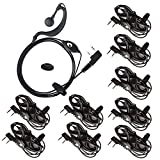 10 Pack Earpiece Headset K Head with Microphone PTT for 2 PIN Kenwood Baofeng UV-5R 888s Two Way Radio