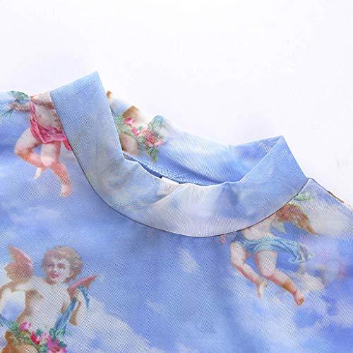 Malbaba Women Fashion Casual Short Sleeve Turtleneck Print Short Tops T-Shirt Blouse Blue by Malbaba Women Blouse (Image #5)
