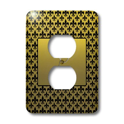 De Fleur Lis Embossed - 3dRose lsp_36090_6 Elegant Letter L Embossed Frame Over A Black Fleur-De-Lis Pattern On A Gold Background 2 Plug Outlet Cover