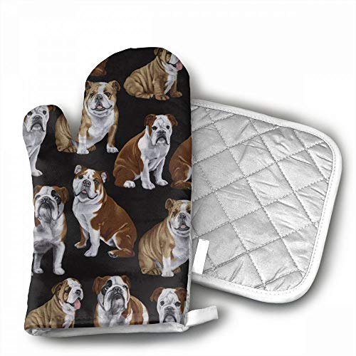 English Bulldogs Oven Mitts,Professional Heat Resistant Micr