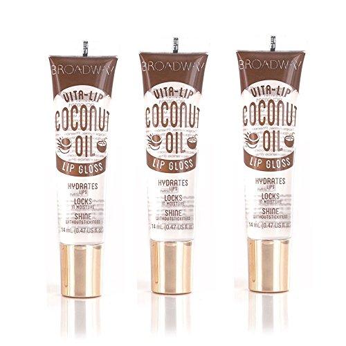 Broadway Vita-Lip Clear Lip Gloss 0.47oz/14ml (3PCS – Mint & Coconut & Rosehip Oil)