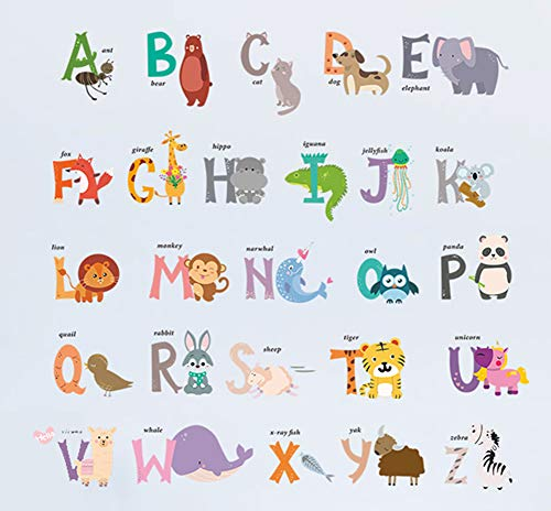 DEKOSH Baby Nursery Animal Alphabet Peel & Stick Kids Wall Decals - Colorful Educational Wall Art Classroom Stickers for Unisex Playroom, Nursery Decor