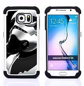 """Samsung Galaxy S6 / SM-G920 - 3 en 1 impreso colorido de Altas Prestaciones PC Funda chaqueta Negro cubierta gel silicona suave (Traje Stormtrooper"""")"""