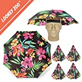 Looney Zoo || Umbrella Hat || Unique Colorful Umbrella Hats - Easy Elastic Fitting Umbrella Hat for Adults & Kids (The Hawaiian, 4 Umbrella Hats)