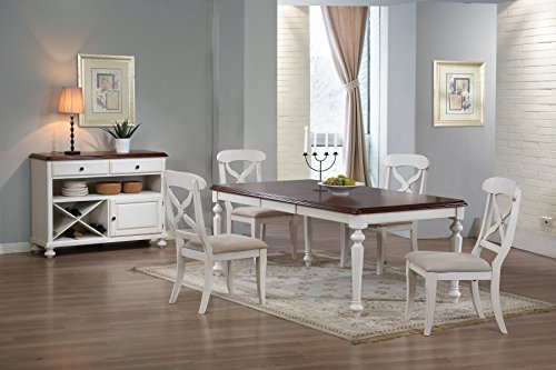 Sunset Trading DLU-ADW4276-C12-SRAW6PC 6 Piece Andrews Butterfly Leaf Dining Table Set with Server, Antique White with Distressed Chestnut Top