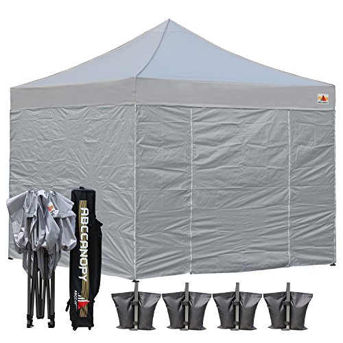 AbcCanopy Commercial 10×10 Ez Pop up Canopy, Party Tent, Fair Gazebo with 6 Zipped End Sidewalls and Roller Bag Bonus 4x Weight Bag (gray)