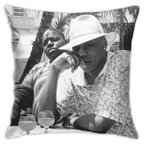 Uqzzzzii Throw Pillow Cover Jay-Z & Biggie- Brooklyn's Finest Pillow Case Home Decor Square 18 X 18 Inch Pillowcase