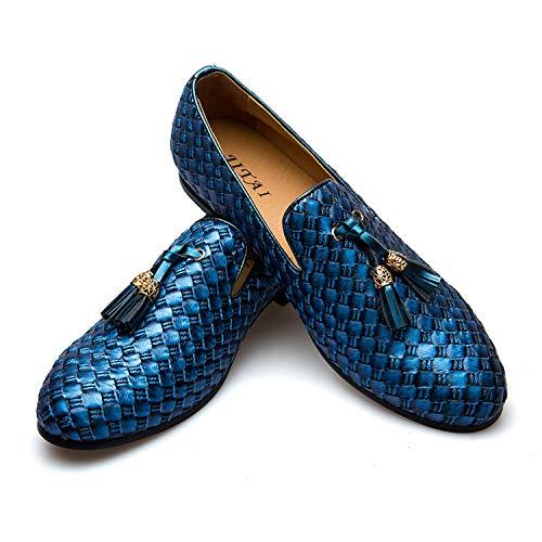 Men's Vintage Velvet Bv Embroidery Noble Loafer Shoes Slip-on Loafer Smoking Slipper Tassel Loafer (10 D (M) Us, Blue) (Spiked Dress Shoes Men)