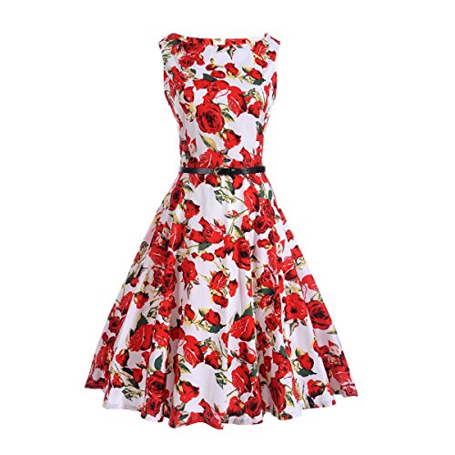 Red Dress Retro Elegant Dress A Party Vintage Floral Womens Printed BessWedding Line OAqUx