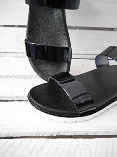 Damen Schuhe bequeme Sandalen Lack Sandaletten Metallic (8210) metallic-schwarz