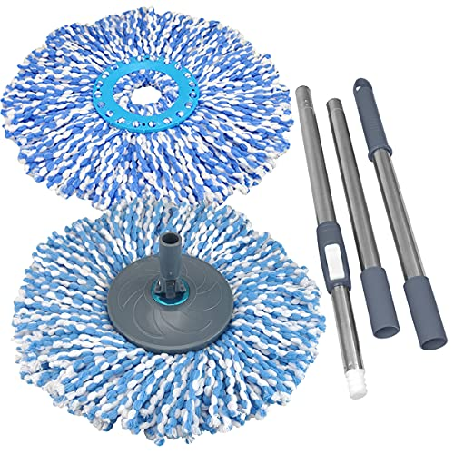 Primeway Magic Spin Mop Handle Set with Disc and 2 Mops Head, Grey, Dark Blue
