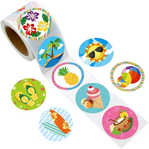 Fancy Land Summer Perforated Roll Stickers 200pcs for Luau Tropical Summer Hawaii Party Decoration ()