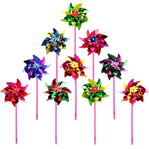ECOLOG Plastic Rainbow Pinwheel with Multi-Colors,Waterproof Pinwheels Decorations for Kids Garden Party Toy Festival Lawn Birthday Party and More!Children