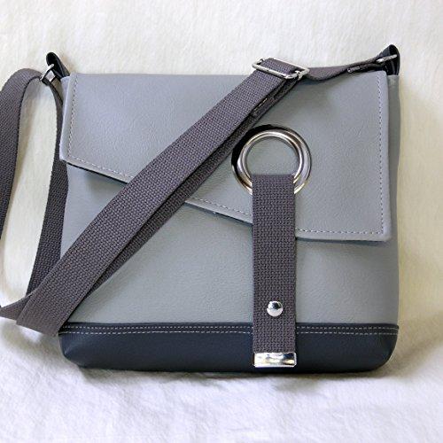 Stella Crossbody Messenger Bag, Faux Leather Messenger in Smoke Gray by Zaum