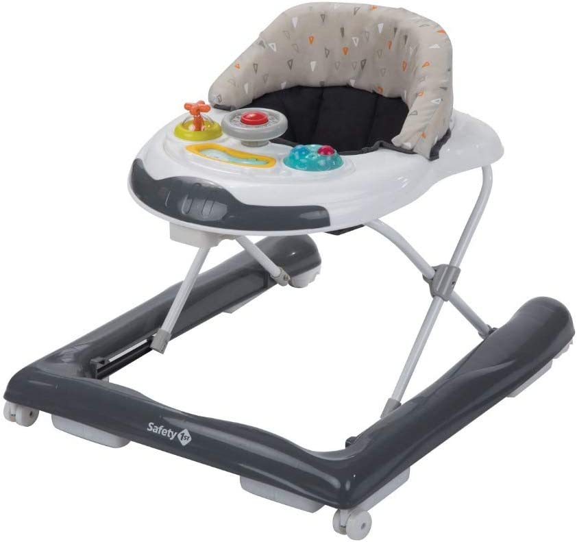 Safety 1st Bolid Andador bebé primeros pasos, 3 alturas regulables, Centro de actividades con 12 melodias, asiento alcochado, Base Antivuelco, color Warm Grey
