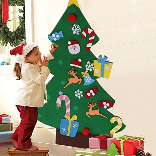 Christmas Tree with Ornaments-Children Christmas Gifts for 2018 New Year Door Wall Hanging Xmas Decoration