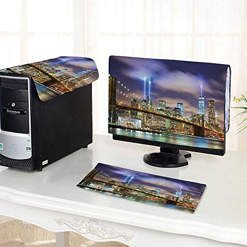 (Auraisehome One Machine LCD Monitor Keyboard Cover Manhattan Skyline with Brooklyn Bridge and The Towers of Lights in New York dust Cover 3 Pieces /21