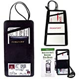 2 LEATHER BOARDING PASS HOLDER TRAVEL WALLET ID US PASSPORT TICKET BLACK COVER !