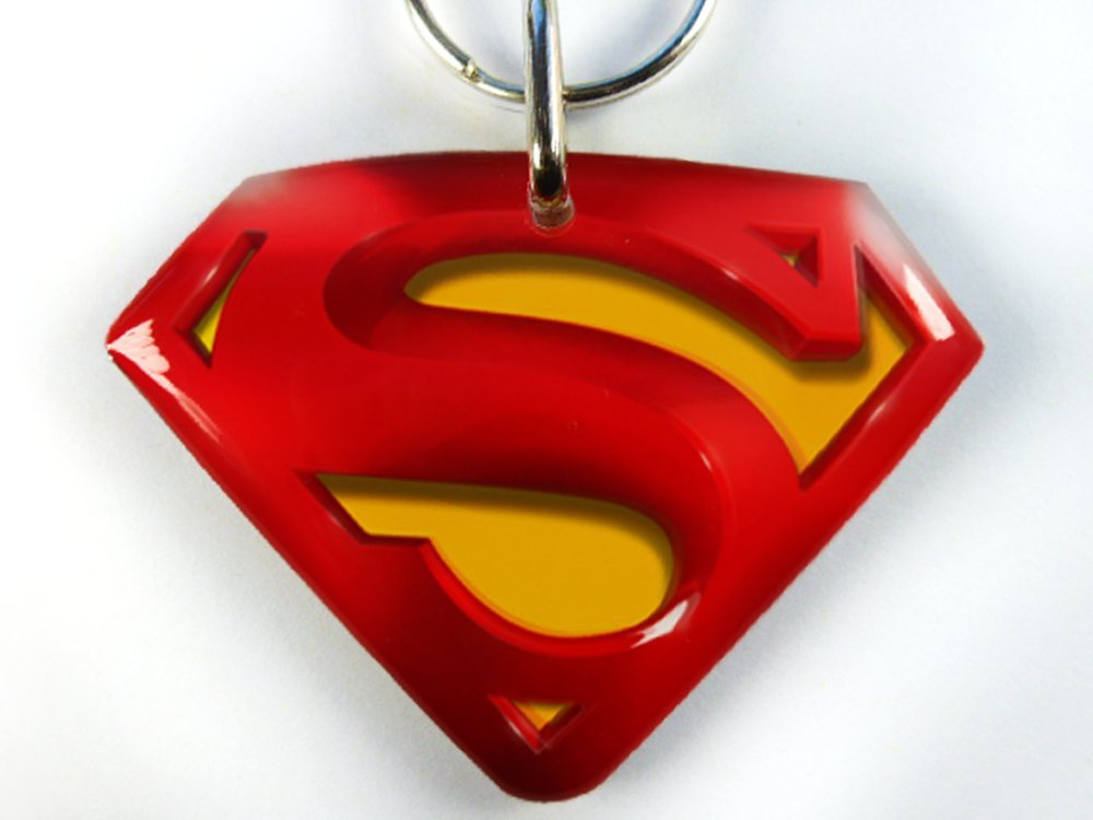 superman custom pet tag dog ID cat pet tags personalized with your pet info (Large 2''W x 1.5''H)