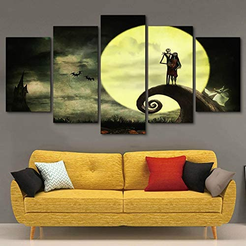 JESC 5 Pieces Home Decor Before Christmas Painting Framed Canvas Modern HD Print Moon Pictures Wall Art