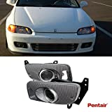 TWE 2pcs Aftermarket JDM Smoke Lens Fog Lights With H3 Bulbs+Cover+Switch+Wiring Harness+Relay+Brackets Fit 92-95 Honda Civic 2-Door Coupe & 3-Door Hatchback Only