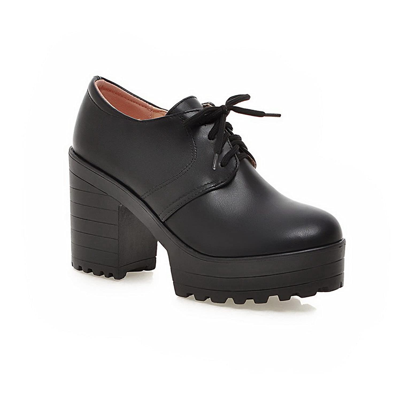 A&N Ladies Lace-Up Chunky Heels Platform Black Urethane Oxfords-Shoes - 5.5 B(M) US