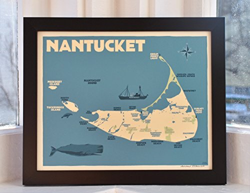 Nantucket Map Framed Print (8x10 Giclee Poster, Wall Decor Art)