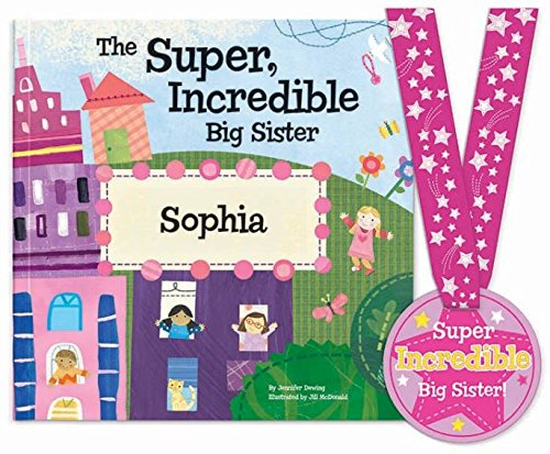 Big Sister Personalized Custom Name Book (Softcover) with Medal - Sibling Gift, Becoming a Big Sister Gift, I'm The Big Sister | I See Me! (Personalized Magazine Covers)