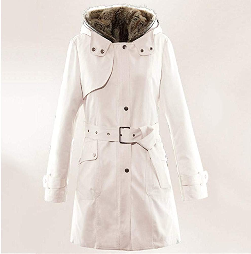 STORTO Winter Plus Size Womens Hooded Coat Fur Lining Thicken Long Jacket Parka with Belt
