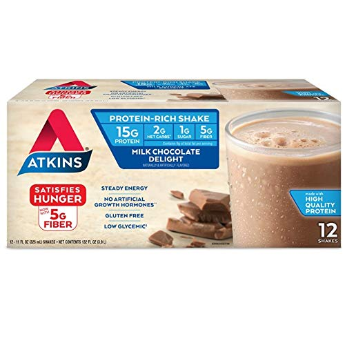 powerful Atkins Gluten Free Protein-Rich Shake, Milk Chocolate Delight, Keto Friendly, 12 Count